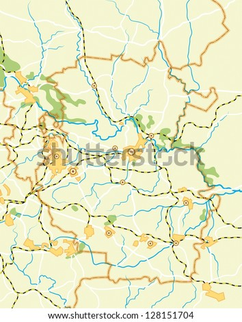 Geodesic Map of The Country. Colour background vector illustration. - stock vector