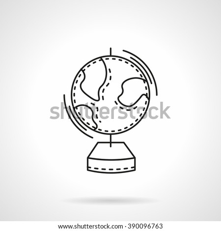 Geography globe. Earth model. School supplies. Education concept. Flat line style vector icon. Single design element for website, business.