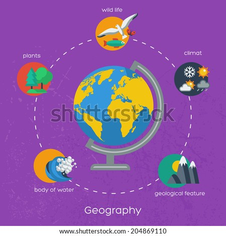 Geography infographics elements. Vector illustration. Textured background. Nature objects: wild life, climate, bodies of water, plants. - stock vector