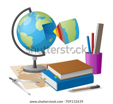 Geography lesson related elements cartoon style stock vector geography lesson related elements as cartoon style globe graphite pencil and compass on world map gumiabroncs Gallery