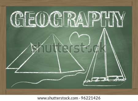 Geography on the classroom blackboard vector background - stock vector