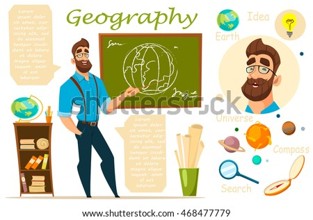Geography teacher stands at the blackboard, and a lesson ...