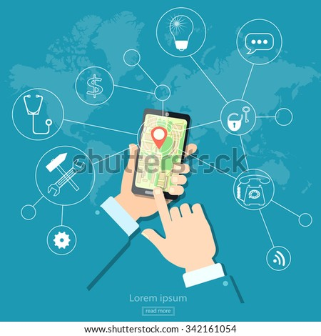 Geolocation gps navigation touch screen mobile  - stock vector