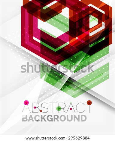 Geometric abstract background. Arrow, technology or motion concept - stock vector