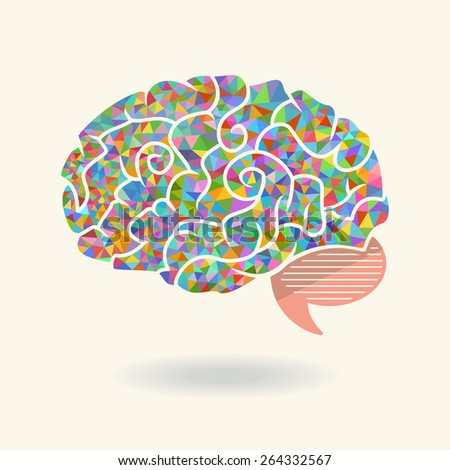 Geometric abstract brain, vector illustration