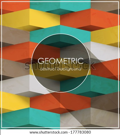 geometric abstract colored retro design template / vector - stock vector