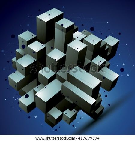 Geometric abstract 3D complicated lattice object, asymmetric element with wireframe structure. - stock vector
