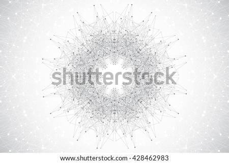Geometric abstract mandala with connected line and dots. Minimalism chaotic illustration background. Linear sign, symbol. Graphic composition for medicine, science, technology, chemistry.