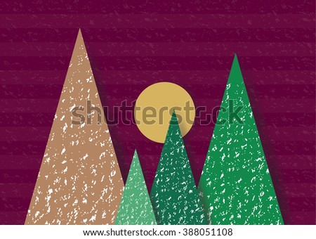 Geometric abstract Nature view recycled paper craft Background paper cut style. - stock vector