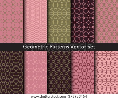 Geometric abstract objects patterns vector set in dusty colors. Ten seamless patterns of triangles, hexes, polygons, diamonds, cubes, squares, hexagons. Big vector set of geometric figures.  - stock vector
