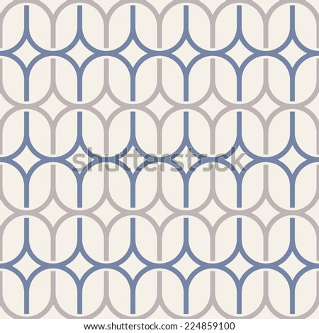 Geometric abstract seamless pattern. Background with waving grid. Vector illustration - stock vector