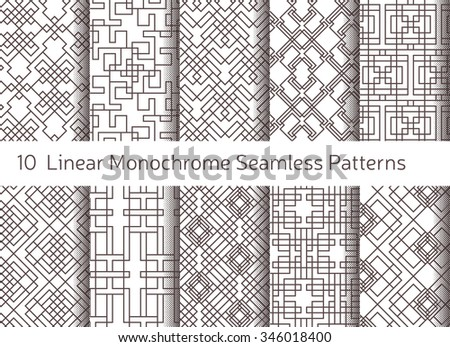 Geometric abstract seamless pattern. Linear motif background. Monochrome decoration design - stock vector