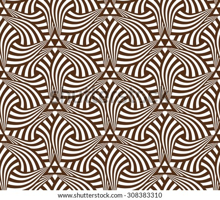 Geometric abstract seamless pattern motif background. Colorful brown swirled shapes composition - stock vector