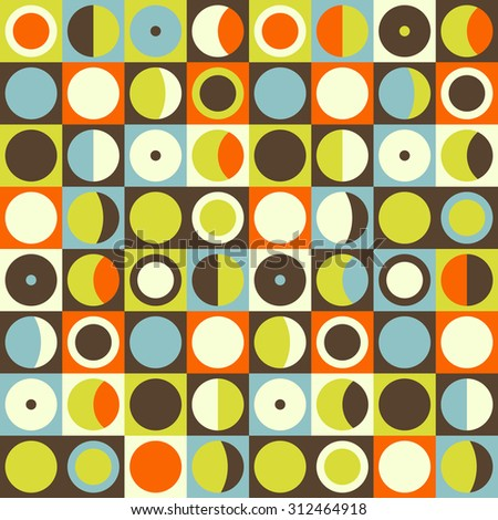 Geometric abstract seamless pattern. Retro 60s style and colors. Squares, circles composition - stock vector