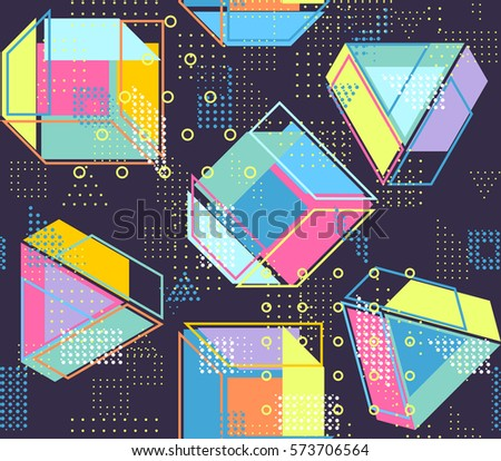 Geometric Abstract Seamless Pattern People Dancing Stock Vector ...