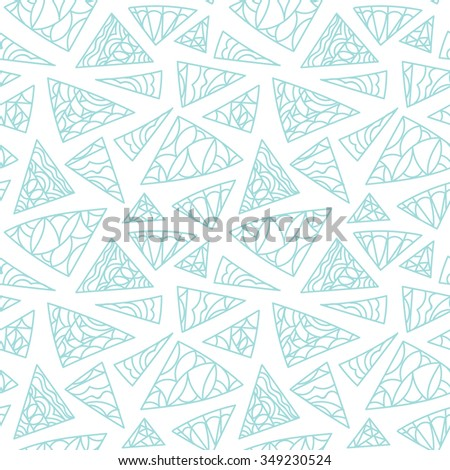 Geometric abstract shapes pattern. Vector seamless light blue seasonal winter background.  - stock vector