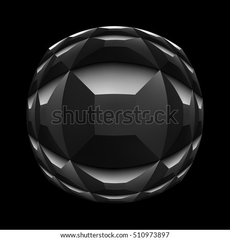 geometric abstract sphere isolated on a black background. fisheye effect