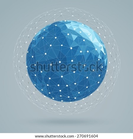 Geometric abstract structure blue colors, mesh white color - stock vector
