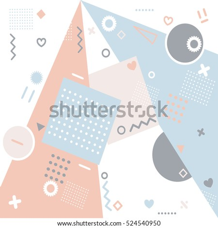 Geometric abstract texture fashion trends. set of beautiful vector graphic shapes of an arbitrary flat style. Retro style