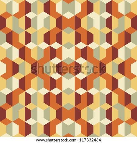 Geometric abstract vector background - seamless pattern in brown colors.  - stock vector