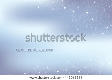 Geometric abstract with connected line and dots. Big data composition. Molecule and communication background for your design. Vector illustration
