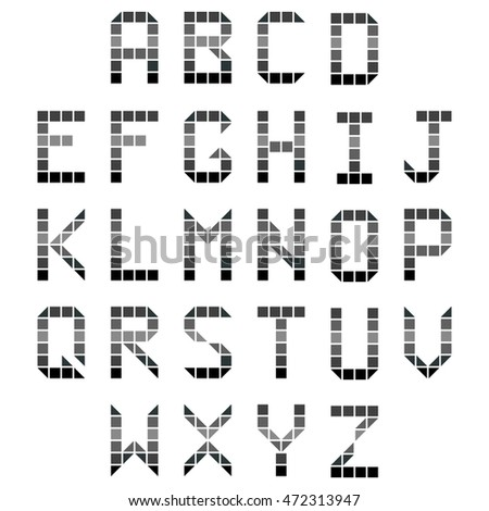 geometric alphabet font gray A B C on the white background
