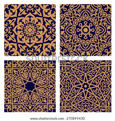 Geometric arabic seamless patterns with orange ornament and interlacing foliage elements on dark indigo background for religion or tile design - stock vector