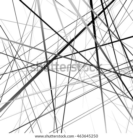 Geometric art random intersecting lines. Asymmetric irregular lines pattern.