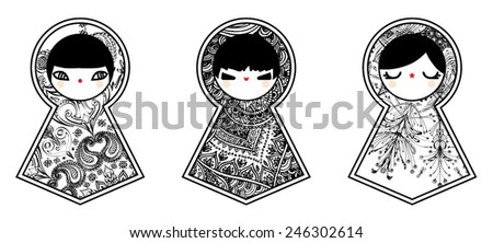 Geometric babushka matryoshka dolls - stock vector