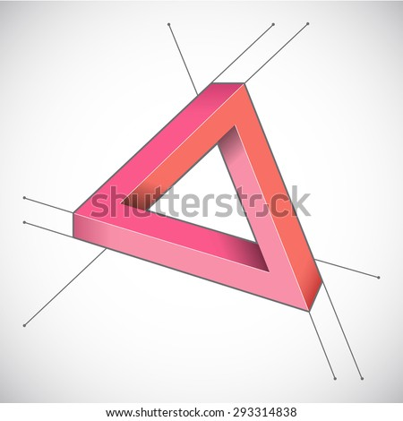Geometric background. 3d triangle. Impossible shape. - stock vector