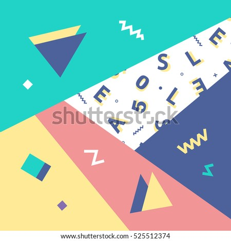 Geometric background in retro 80s-90s style. Memphis trendy art. Abstract poster, surface, card design
