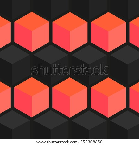 geometric background made of cubes and polygons - stock vector