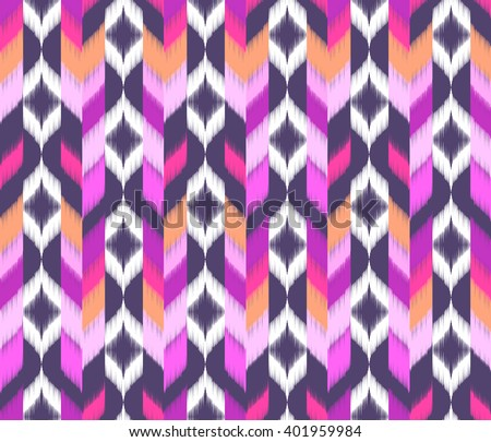 geometric black and pink ikat shapes ~ seamless background - stock vector