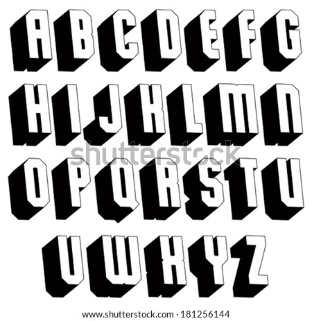 Geometric black and white 3d font, single color simple bold and heavy letters alphabet, best for use in web design and advertising, for use in headlines, elegant symbols with good style. - stock vector