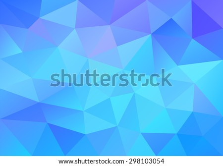 Geometric blue background with triangular polygons. Abstract design. Vector illustration. - stock vector