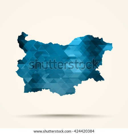 Geometric Blue map of Bulgaria flag colors