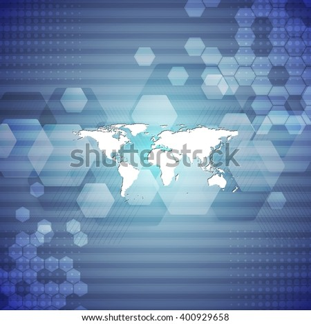 Geometric blue technology abstract background. Vector graphic template design
