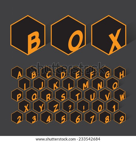 Geometric Box Alphabet and Numbers, Eps 10 Vector Editable - stock vector