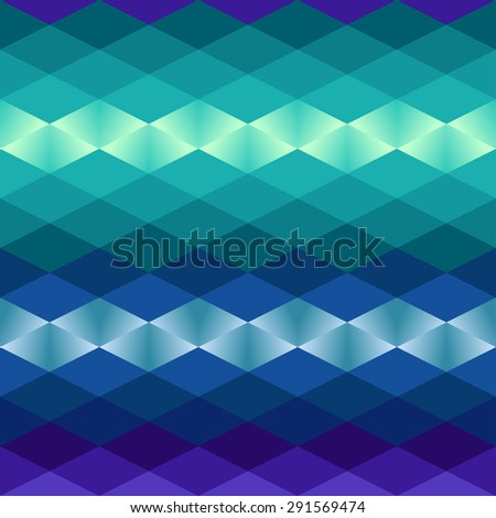 Geometric bright blue background. Shining triangle pattern