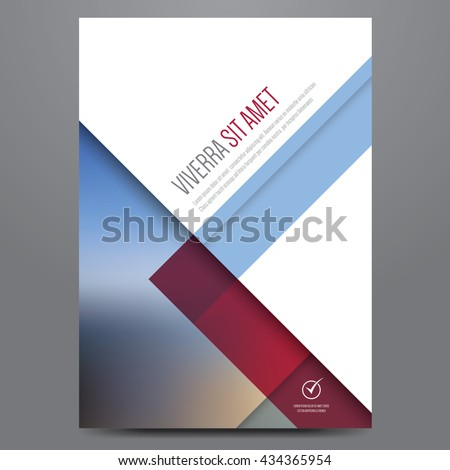 Geometric business brochure, flyer, poster, annual report, magazine cover vector template. Modern blue and red corporate flat design. - stock vector