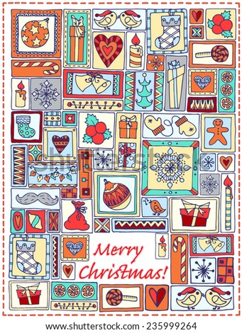 Geometric christmas doodle hand drawn pattern. Template design for card with set of bells, christmas tree, sweets, candles, snowflakes, gifts and hearts in rectangle frames. Colorful background. - stock vector
