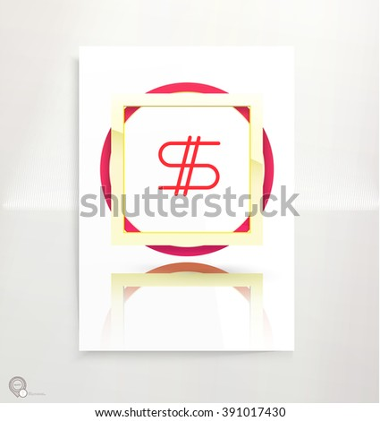 Geometric Circles Golden and Red Frames Composition on an A4 Paper Mock Up  for Your Placeholder - stock vector
