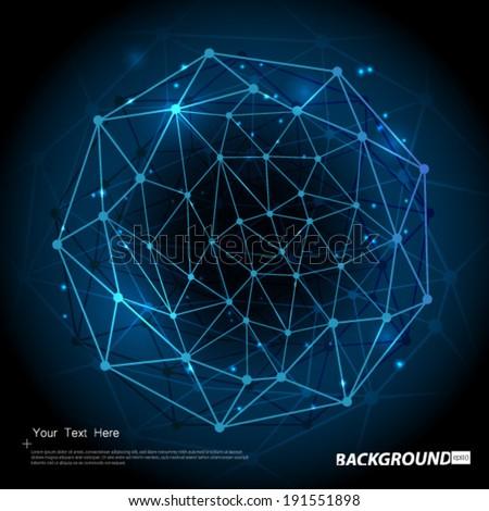 Geometric Circles Molecular Pattern Background - stock vector