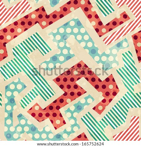 geometric cloth seamless pattern with grunge effect - stock vector