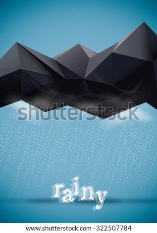 Geometric cloud and Raining - stock vector