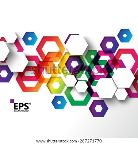 Geometric Colorful Hexagonal Shapes Background - stock vector