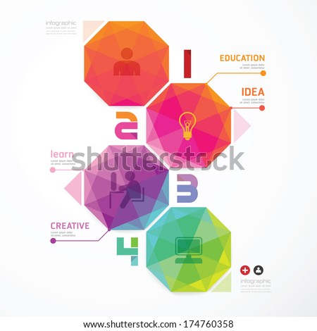 Geometric colorful Modern Design  / can be used for infographics / numbered banners  - stock vector