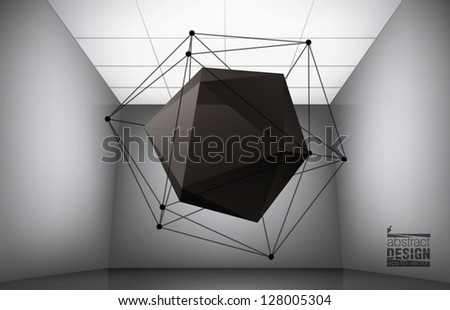 Geometric composition from icosahedron in interior of a museum - stock vector