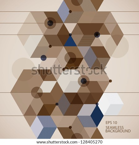 Geometric contemporary style seamless pattern with vertical elements, 3d vector background. - stock vector