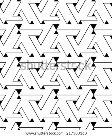 Geometric contrast maze abstract seamless pattern, elegant continuous light vector background. Chaotic black and white wallpaper covering with triangles and lines